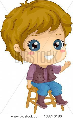 Illustration of a Little Boy in Cowboy Costume Sitting on a Stool