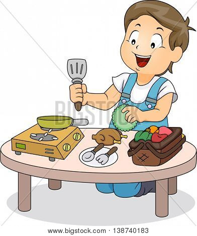 Illustration of a Little Boy Playing with Mini Kitchen Utensils