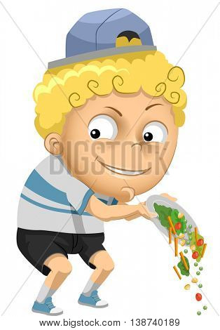 Illustration of a Little Boy Throwing His Vegetables Away