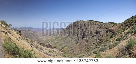 Gran Canaria Caldera de Tejeda steep north walls of the caldera Roque Bentayga to the left