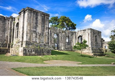 Santiago Apostol Parish Ruins in in the city of Cartago Costa Rica. The site was never completed and what had been built was destroyed by numerous earthquakes
