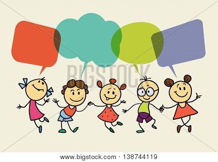 hand drawing vector illustration. Cartoon children with speech bubbles.