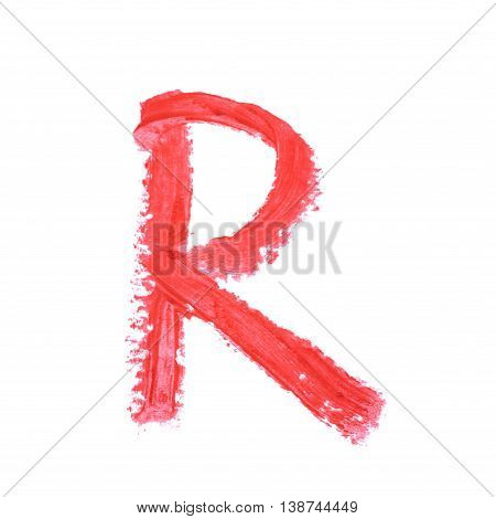 Single abc latin letter r symbol drawn with a wax crayon isolated over the white background