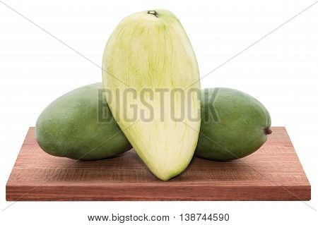 Fresh Mango - Sliced Green Mangoes On Wooden With Isolated White Background