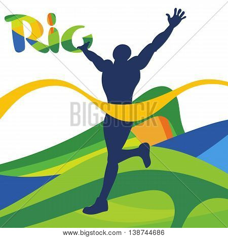 Abstract Rio logo with national flag and a man silhouette with hands up in the air. Digital vector image.