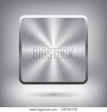Metal button, vector metallic texture, square element for you project design