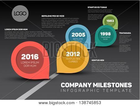 Vector Infographic Company Milestones Timeline Template with retro pointers - dark version