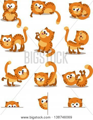 Playful cats. Set for page layout.  Set of different movements of cats.