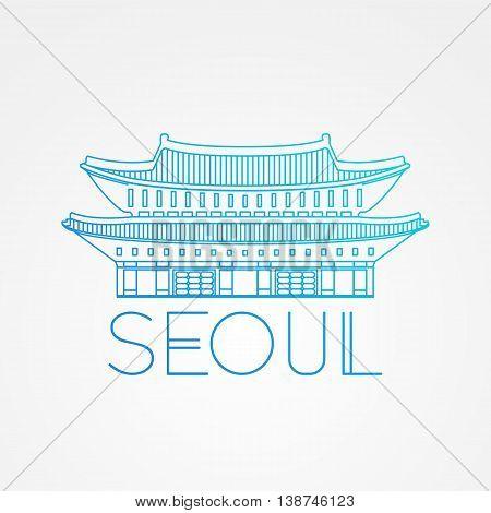 World famous Gwanghwamun Palace. Greatest Landmarks of Asia. Linear modern style vector icon symbol of Seoul, South Korea. Minimalist one line Trendy style.