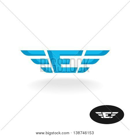 Letter E with wings logo. Blue colors wide style.
