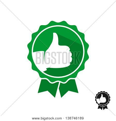 Like hand with stamp symbol logo. Green color style seal stamp with two ribbons.