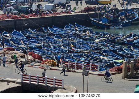 ESSAOUIRA - JULY 15: The harbor of Essaouira, Morocco, July 15, 2013. Essaouira is one of the most popular tourist place on Atlantic coast in Morocco.