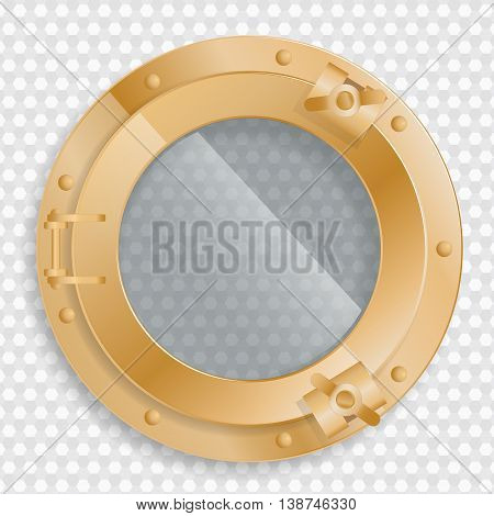 antique brass porthole on a transparent background with glass