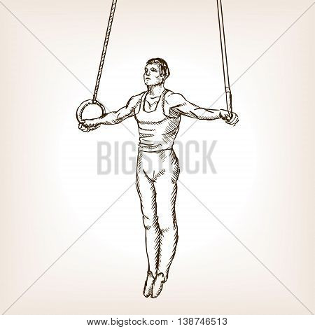 Gymnast on rings sketch style vector illustration. Old engraving imitation.