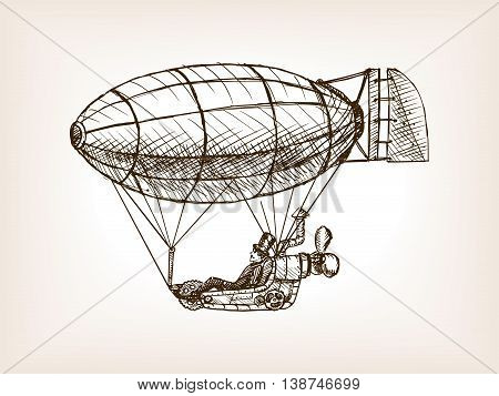 Steampunk mechanical flying airship sketch style vector illustration. Old engraving imitation.