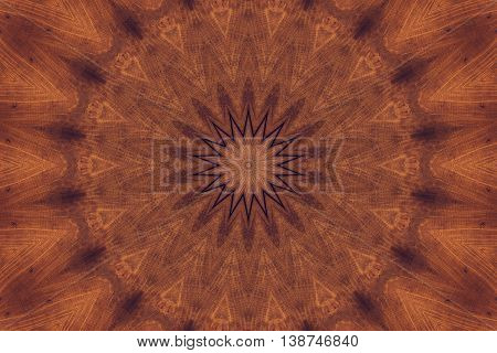 Abstract image with kaleidoscope effect. In brown colors