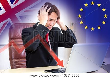 Brexit concept with Businessman stress when the crisis about effects of the United kingdom or England out of the EU