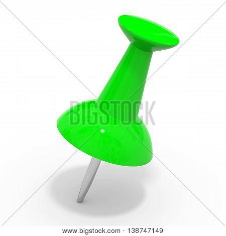 Green Push Pin On White.