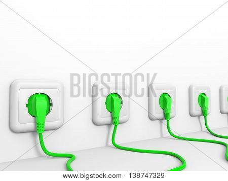 Plugs and socket on white wall. 3D illustration.