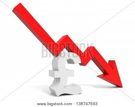Graph Down Pound Sign Arrow.