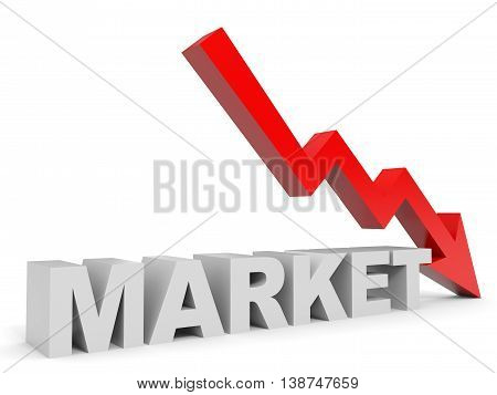 Graph down market arrow on white background. 3D illustration.