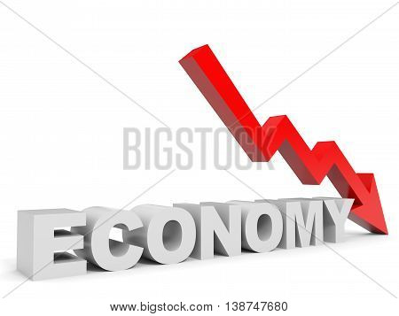 Graph down economy arrow on white background. 3D illustration.