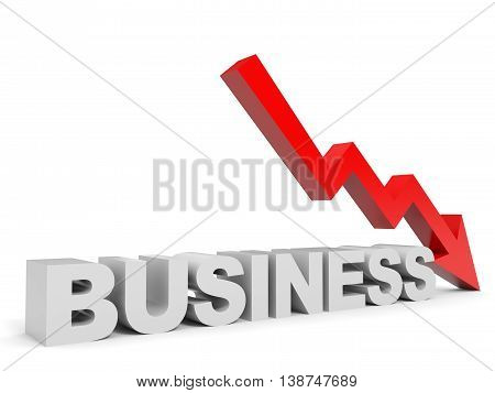 Graph down business arrow on white background. 3D illustration.