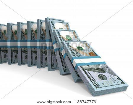 Stacks Of Money. New One Hundred Dollars.