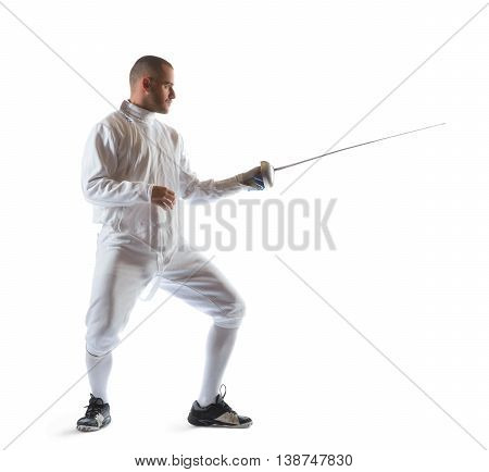 Fencing athlete wins the competition isolated in white background.
