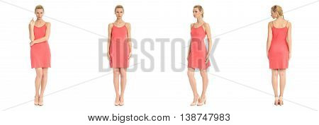 Fashion Model Wearing Coral Dress With Emotions On White