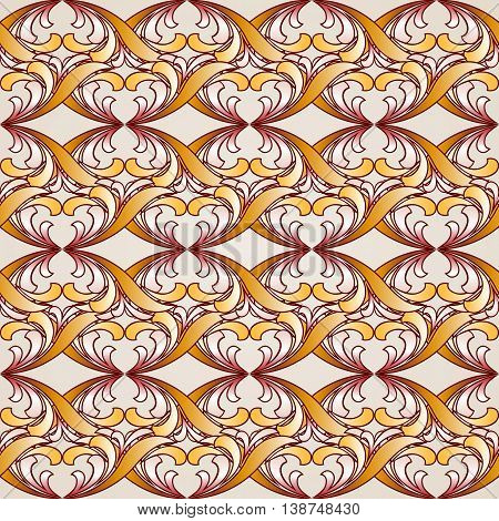 Saturated ornate seamless abstract floral pattern in shades golden