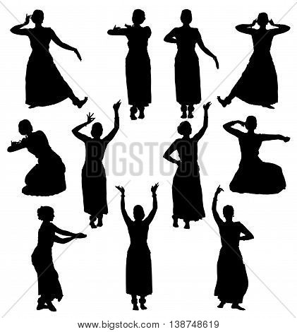 Silhouettes of woman performing indian dance bharatanatyam