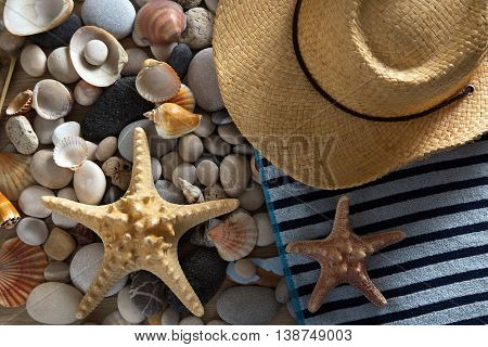 Summer background of beach items, sea shells and stones