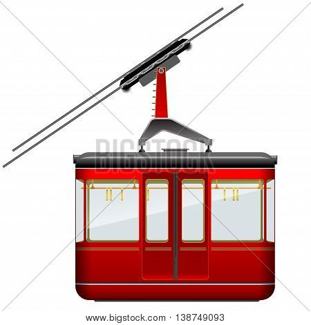 Red big and old cabin cableway on a white background. Isolated.