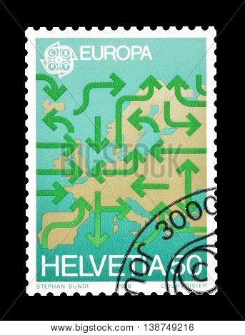 SWITZERLAND - CIRCA 1988 : Cancelled postage stamp printed by Switzerland, that shows Map of Europe.