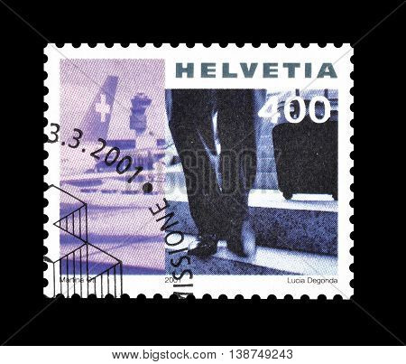 SWITZERLAND - CIRCA 2001 : Cancelled postage stamp printed by Switzerland, that shows Airport.