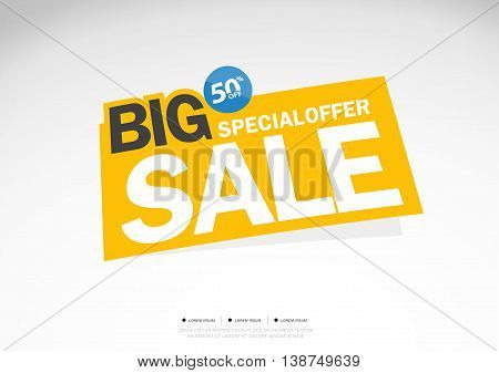 Big Sale and special offer yellow background. 50% off. Vector illustration.Theme color.