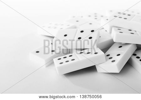 Heap of dominoes, isolated on white