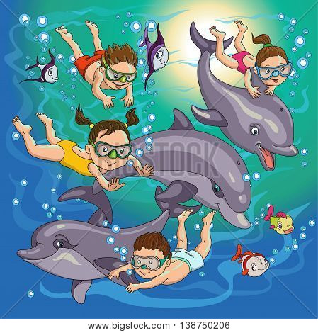 cartoon children swim with dolphins and fish