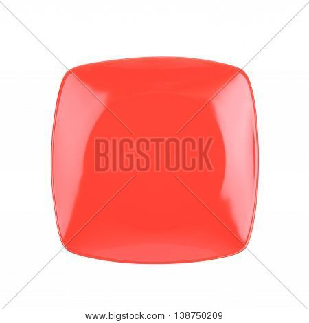 Square red empty ceramic plate isolated over the white background