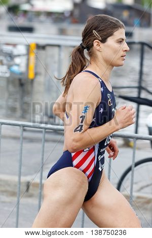 STOCKHOLM - JUL 02 2016: Running triathlete Sarah True side view in the Women's ITU World Triathlon series event July 02 2016 in Stockholm Sweden