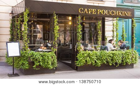 Paris France-June 09; 2016- The French-Russian cafe restaurant Pouchkine located at 155 boulevard Saint Germain in Paris France.