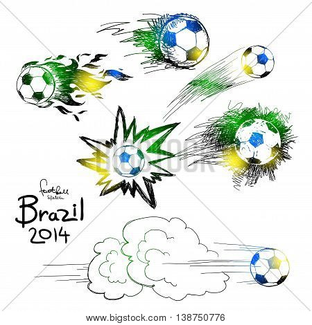 Vector soccer ball icon set with color of brazilian flag