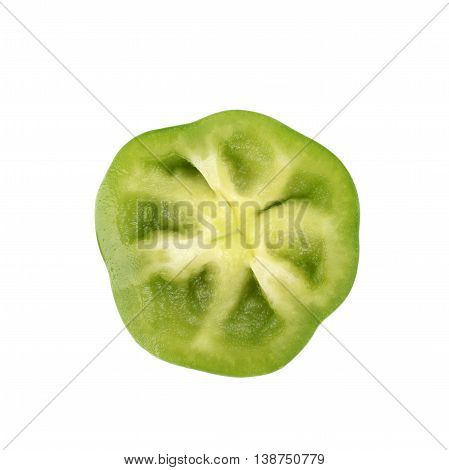 Slice of a green bell pepper isolated over the white background