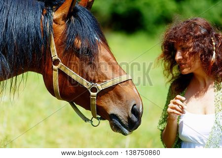 Girl In White Dress Talking To A Brown Horse On Meadow.
