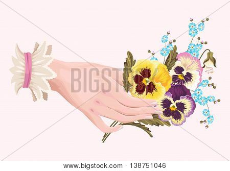 Vestor vintage illustration of womans hand with pansies