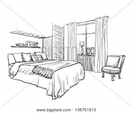 Interior design of the classic bedroom. Hand drawn furniture