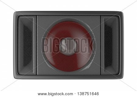 Front view of loudspeaker isolated on white background, 3D illustration