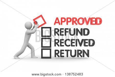 Refund and Finance. Business metaphor. 3d illustration
