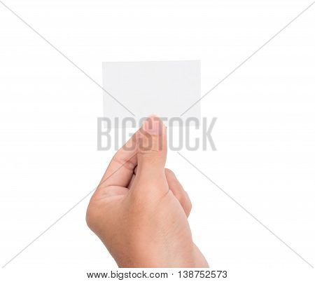 A hand rises a blank white paper card/note with white background